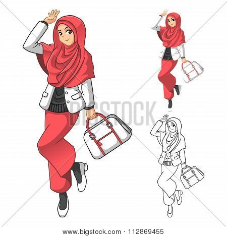 Muslim Woman Fashion Wearing Pink Veil or Scarf with Holding a Bag and Casual Outfit