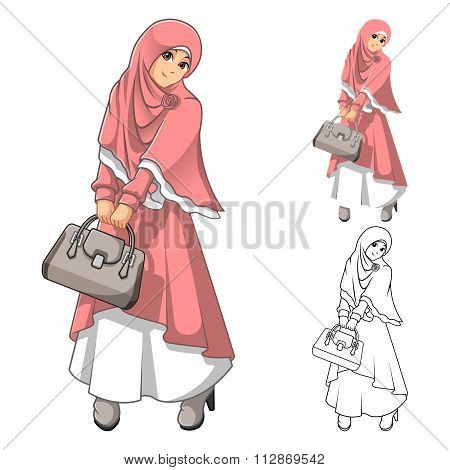 Muslim Woman Fashion Wearing Pink Veil or Scarf and Dress Outfit with Holding a Bag