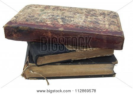 Pile of antique books isolated