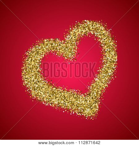 Gold Glitter Valentines Day Heart On Red Gradient Background.
