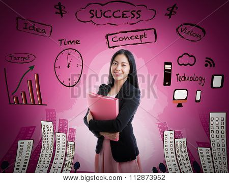 Asian Woman Smiling On Business Background.