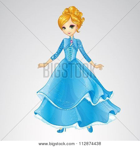 Blonde Princess In Blue Fashion Dress