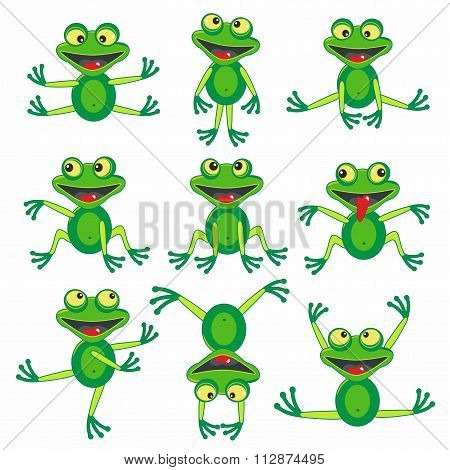 Set of 9 cartoon funny frogs