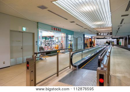 TOKYO JAPAN - NOVEMBER 29 2015: Duty free area with duty free shops at the terminal two of Narita international airport