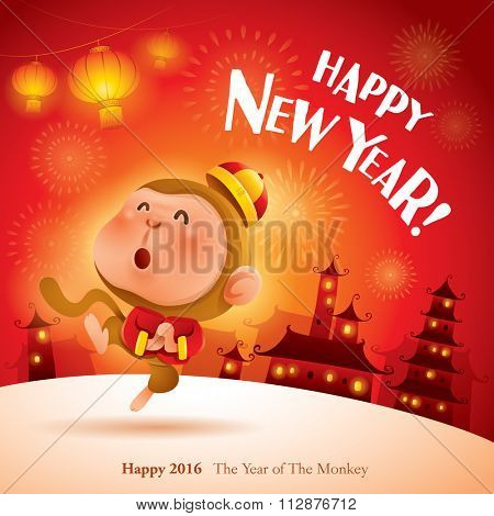 Happy New Year! Chinese Zodiac - Monkey. Chinese New Year 2016.