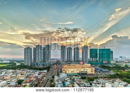 Beauty sunset in Ho Chi Minh City, Vietnam