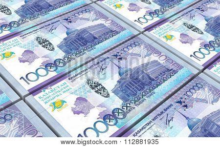 Kazakhstan tenge bills stacks background. Computer generated 3D photo rendering.