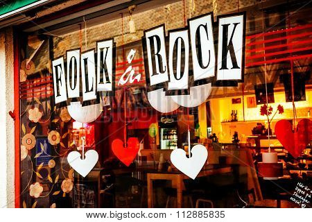 Malmo, Sweden - December 31, 2014: Shop Window Of Music Store With Rock & Folk Music In Malmo In Swe