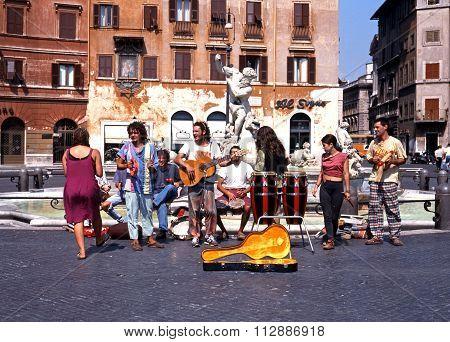 Street musicians, Rome.