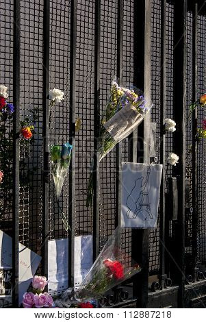 Madrid, Spain - November 15, 2015 - Flowers And Peace Signs Against Terrorist Attacks In Paris, Set