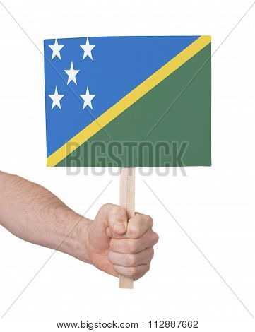 Hand Holding Small Card - Flag Of Solomon Islands