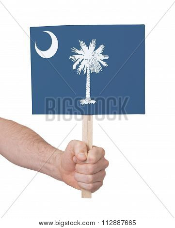 Hand Holding Small Card - Flag Of Oklahoma