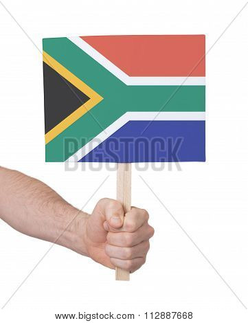 Hand Holding Small Card - Flag Of South Africa