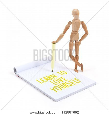 Wooden Mannequin Writing - Learn To Love Yourself