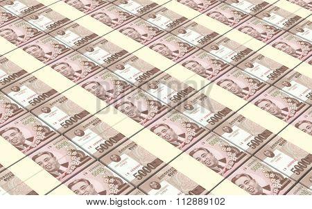 North Korea won bills stacks background. Computer generated 3D photo rendering.