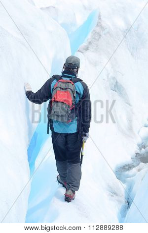 Calafate, Argentina - December, 2015: Man Hiking At A Glacier In The Patagonia, on December 2015 in