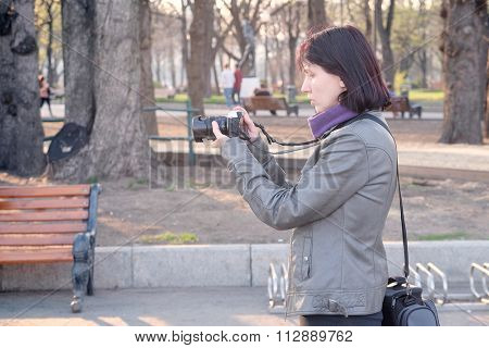 Portrait of a girl photographer