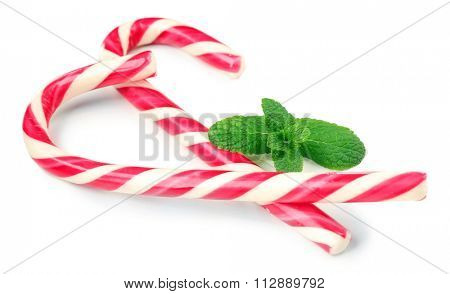 Lollipop candies with mint, isolated on white