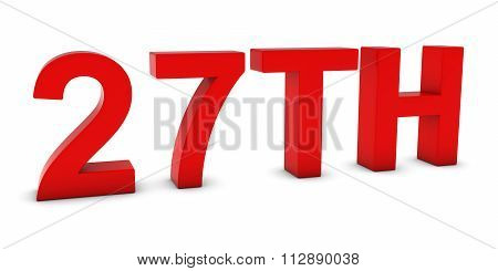 27Th - Red 3D Twenty-seventh Text Isolated On White