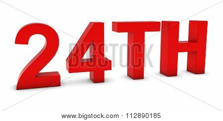 24Th - Red 3D Twenty-fourth Text Isolated On White