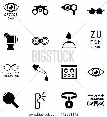 set optometry isolated icons