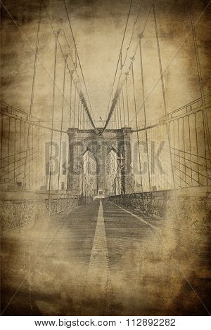 Grunge aged vintage view of the Brooklyn Bridge, New York looking down the length at a tower and the suspension cables in sepia tones