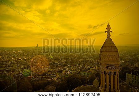 Rooftop And Aerial View From Sacre Coeur Basilica In Sunset Light