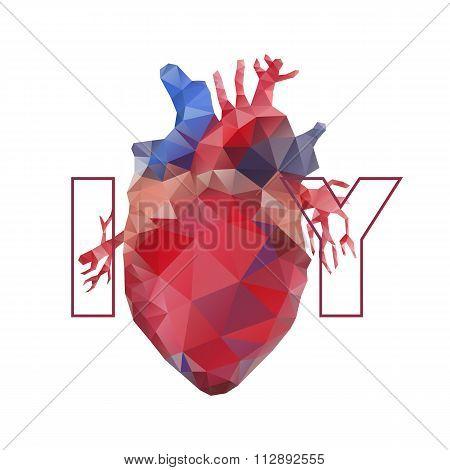 Realistic polygonal heart