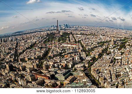 Fish Eye Panorama And Aerial View Of Paris