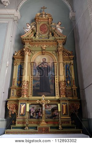 ZAGREB, CROATIA - MAY 28: Saint Francis Xavier, altar in the Basilica of the Sacred Heart of Jesus in Zagreb, Croatia on May 28, 2015