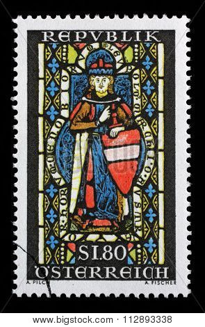 AUSTRIA - CIRCA 1967: a stamp printed in the Austria shows St. Leopold, Window, Heiligenkreuz Abbey, Margrawe Leopold III, Patron Saint of Austria, circa 1967