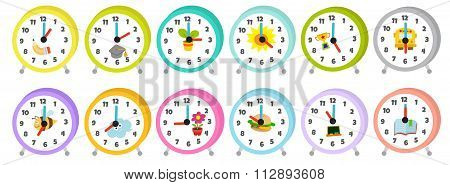 12 colorful table clocks