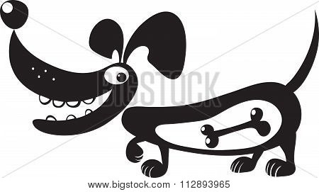 Silhouette Of A Dog With A Bone In His Stomach