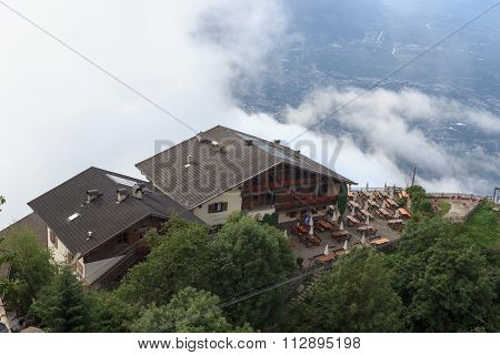 Guesthouse Hochmuth with clouds in the background