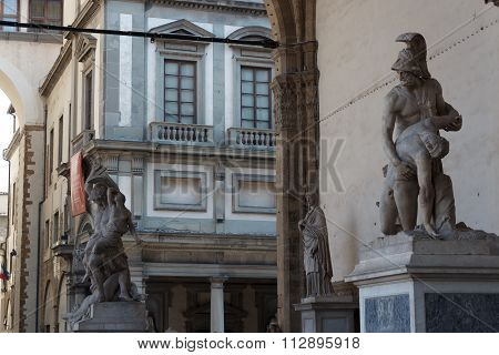 Loggia dei Lanzi in Florence with some statues