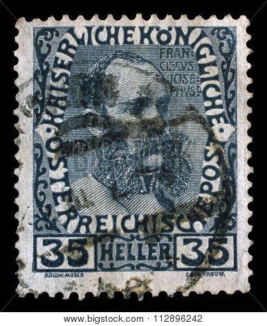 AUSTRIA - CIRCA 1908: a stamp printed in the Austria shows Franz Josef in middle Age, Emperor of Austria, circa 1908