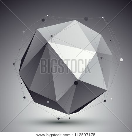 Spatial Vector Monochrome Digital object, Dimensional Orbital Element With Wireframe