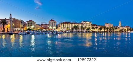 Split Waterfront Evening Blue Panorama