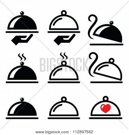 Meal, dinner, food platter icons set