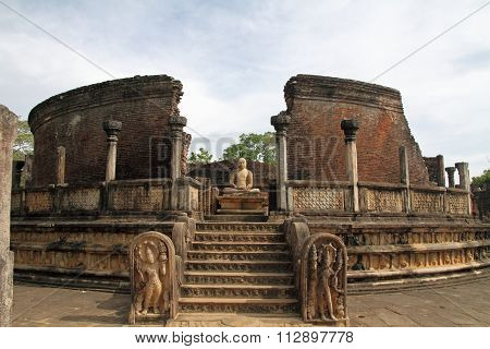 Vatadage in Sacred Quadrangle Polonnaruwa Sri Lanka