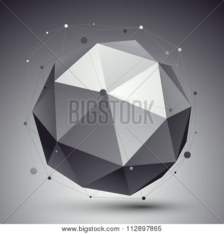 Spatial Vector Monochrome Digital Eps8 Backdrop, Dimensional Technology Sphere With Wireframe