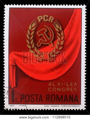 ROMANIA - CIRCA 1974: a stamp printed in Romania shows 11th Romanian Communist Party Congress, circa 1974.