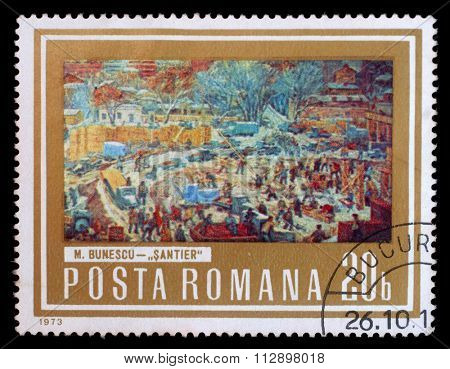 ROMANIA - CIRCA 1973: A stamp printed in Romania, shows picture Construction Area by M. Bunescu, with the same inscription, from the series Paintings showing Workers, circa 1973