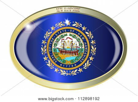 New Hampshire State Seal Oval Button