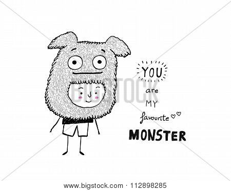 You Are My Favourite Monster, Vector Illustration