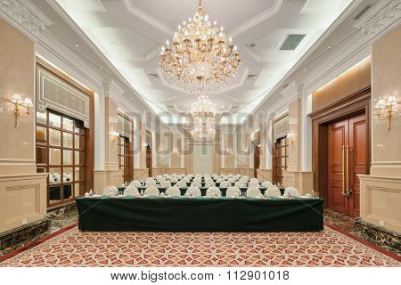 decoration and furniture in luxury meeting room