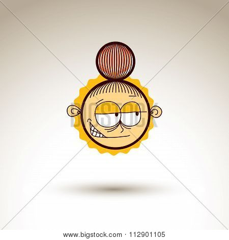 Vector Graphic Art Drawing Of Kid Face, Hand Drawn Cute Girl With Stylish Haircut. Social Network Th
