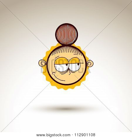 Vector Hand Drawn Skeptic Girl With Fashionable Hairdo. Facial Expression Theme Graphic Element