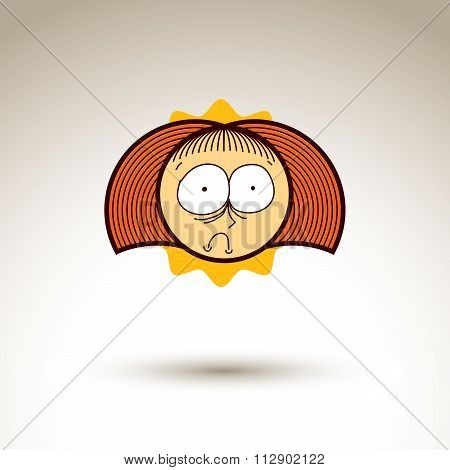 Vector Graphic Art Drawing Of Kid Face, Hand Drawn Cute Girl With Stylish Haircut. Social Network