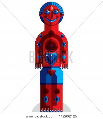 Meditation Theme Vector Illustration, Drawing Of A Creepy Creature Made In Modernistic Style. Spirit